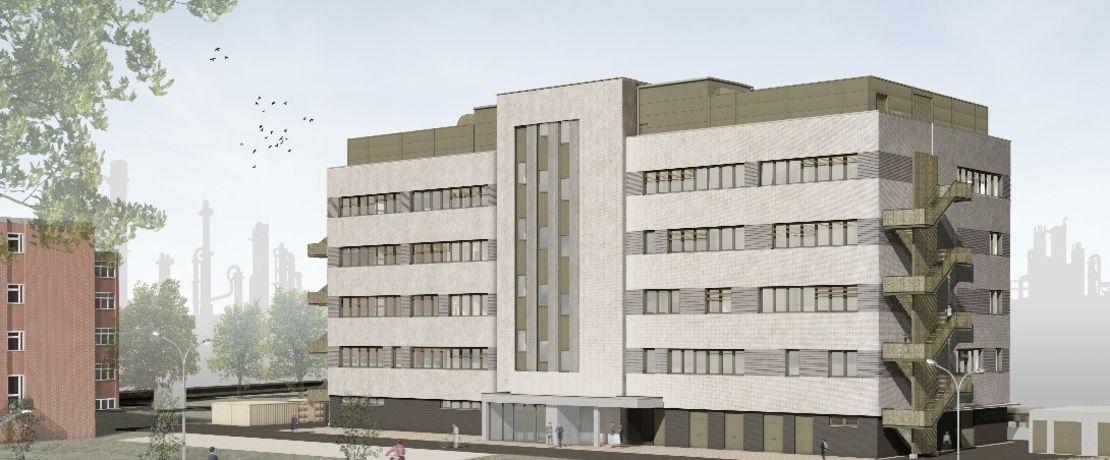 Vom Lipper Weg in Marl wird das neue Gebäude hinter dem Werkszaun mit seiner in Grautönen changierenden Klinkerfassade gut zu sehen sein.